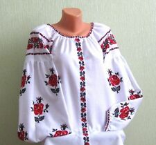 Handmade Embroidered White Linen Classic Traditional Vyshyvanka Ukrainian Blouse