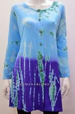 PLUS SIZE HIPPIE BOHO TIE DYE OMBRE LONG TUNIC TOP BLUE ONESIZE 26 28 30 32 34
