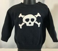 Gymboree Boys 12-18 Mos Ahoy Matey Black Crew Neck Pullover Sweater Pirate Skull