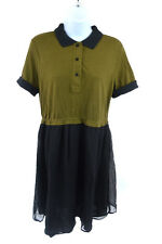 Carven Green and Black Short Sleeve Dress Size L RRP255 SB22-OCTRET