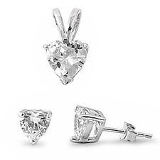 Cubic Zirconia Heart .925 Sterling Silver Pendant & Earrings Set