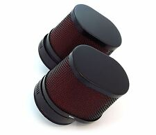 Set of 2 Black & Red Oval Air Filters - 50mm - Honda CB350 CB360 CB450 CB500T