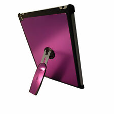 iPad 3 Purple Quality Aluminium Hard Back Case Cover With 360 Rotation Stand