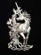 """JJ"" Jonette Jewelry Silver Pewter 'REGAL Unicorn' Horse Pin"