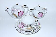 Russian Imperial Lomonosov Porcelain Tea set service Pink tulips 6/20 persons
