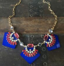 Lapis Blue Pentagon Geometric Fashion Necklace Red Gay Pink Crystals & Earrings