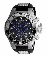 Invicta 21830 Men's Pro Diver Chronograph Black Polyurethane & Dial Blue