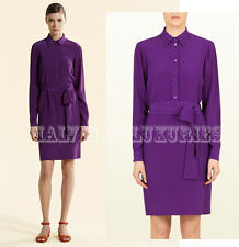 $1,150 GUCCI SHIRT DRESS PURPLE VIOLET CREPE DE CHINE LONG SLEEVES IT 42 US 6