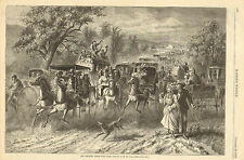 Horse Drawn Carriage, Coach, Wagons, The Return From The Fair 1873 Antique Print