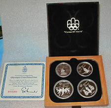 1976 CANADA 4 SILVER COIN SET MONTREAL OLYMPICS  BOX COA  4.34 TROY OZ. PROOF