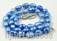 """New 8-9mm light blue baroque freshwater cultured pearl Necklace 17"""" Tibet clasp"""