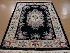 5 x 8 CHINESE Peking Hand Knotted Wool BLACK IVORY Oriental Rug