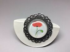 Red Poppy Image Brooch Badge Lapel Pin Antique Silver 35mm christmas gift+bag