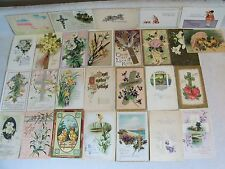 EASTER GREETINGS PRE-LINEN POSTCARD LOT MANY EMBOSSED 1908 UP MOST  100 YRS OLDa