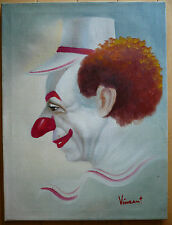 VINCENT, CALIF CA COLLECTIBLE VINTAGE OIL PAINTING, LISTED CLOWN PAINTER REALIST