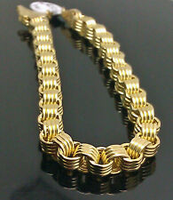 "10K Yellow Gold Byzantine Box Link Bracelet 8.5"" Long 6.5mm"