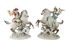 Pair Hutschereuther Selb Porcelain Equstrian Horse Figurines K. Tutter, c1960