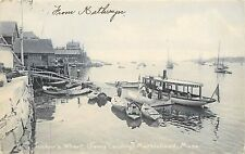 Rotograph Postcard Posted 1906 Tucker's Wharf Ferry Landing Marblehead MA Essex