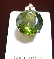 Round Cut Peridot Pendant Enhancer 20mm 14k Yellow Solid Gold --- Great Gift!