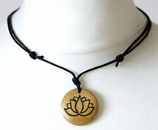 Lotus Flower Necklace Padma Pendant Gift Bodhi Hinduism Buddhism Symbol Wooden