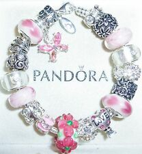 "AUTHENTIC PANDORA BRACELET & Charm w/BOX ""Sugar Pink Garden"" Size 7.5"