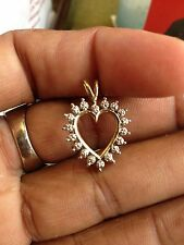 10K Yellow Gold Heart Shaped Pendant with Diamond Chips