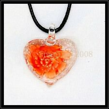 Fashion Noctilucent heart lampwork Murano art glass beaded pendant necklace BB20
