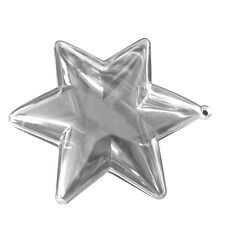 "12 Clear Plastic Ball STAR fillable Ornament favor 3.75"" 6 points"
