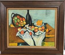 Vintage Mid Century Abstract Fauvist Still Life Oil Painting
