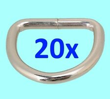 Chrome/Silver Metal D Ring, Loop Ring for Bags Belt Buckle Straps, Lot of 20