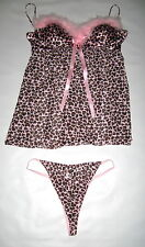 Sexy New Cinema Etoile Pink Leopard Chemise Thong Panties Set Womens Size  XL
