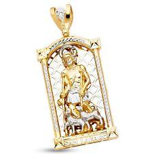Solid 14k Yellow White Gold Big Saint Lazaro Pendant Religious Charm Two Tone