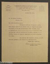 ANTIQUE LETTER / CAMARA DE COMERCIO DE PUERTO RICO / SAN JUAN PR / 1915  RARE