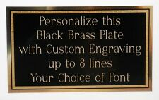 "Engraved Plate 4"" x 6"" Black Brass FREE Logo Custom Plaque Sign Art Label Gift"
