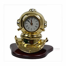 HAND MADE BRASS TABLE CLOCK Mantel Clock Retro Vintage Diving Helmet Desk Gift