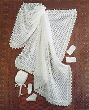 Vintage Knitting Pattern Baby Blanket/Shawl Bootees Mittens And Bonnet B2550
