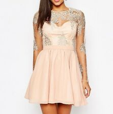 Missguided Premium Lace Prom Skater Party Dress in Nude - UK 12