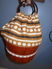 VINTAGE SUSIE LEE BASKET PURSE BOHO  BROWN  LUCITE/PLASTIC HANDLE