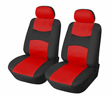 Leather like Two Front Car Seat Covers For Dodge 159 Bk/Red