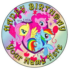 "MY LITTLE PONY PARTY - 7.5"" PERSONALISED EDIBLE ICING CAKE TOPPER"