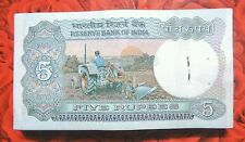 5-FIVE RUPEES BUNDLE OF 100 NOTES BACK SIDE TRACTOR MIXED (NOT UNC) LOT.-INDIA