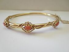 Vintage 14K Solid Y. Gold  Natural Angel Skin Coral Bangle Bracelet
