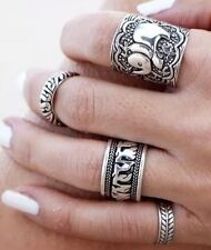 Four set item - Tibetan Animal Tribal Totem Boho Silver Ring Band Midi Set.