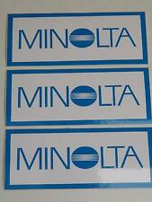 3x Job Lot of Vintage Minolta Camera Vinyl 115mmx50mm Dealer Stickers