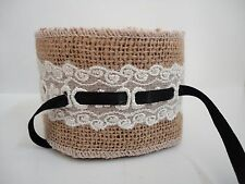 """9 FEET ~ 3 YDS of NATURAL TAN BURLAP & LACE WIRED JUTE Craft Ribbon 2 1/2"""" Wide"""