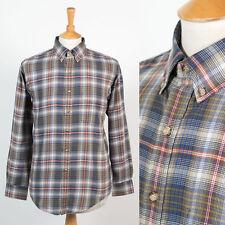 Da Uomo Vintage Casual Stile Plaid check stile Oxford Camicia Button Down Collare M