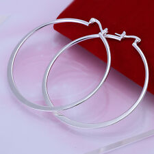 925 Sterling Silver Filled 55mm Large Hoop Ladies Dangle Solid Earrings jewelery