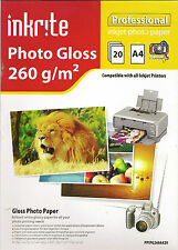 Inkrite Professional Inkjet Photo Gloss Paper 260g/m² 60 Sheets A4-3 packs of 20
