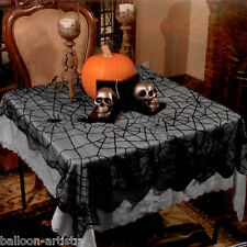 99cm x 200cm Halloween Party Gothic Black Spider Lace Table Cloth Cover