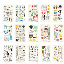 Temporary Tattoos 15 Sheets Animals Butterflies Flowers Hearts